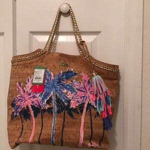 Lilly Pulitzer Palm Tree Cork Tote